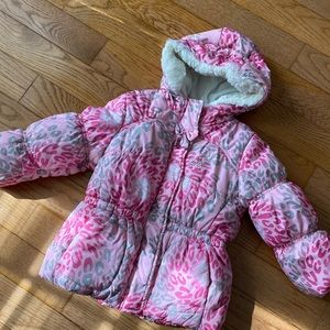 Toddler Snow Jacket - pink leopard print